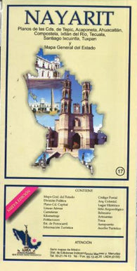 Buy map Nayarit, Mexico, State and Major Cities Map by Ediciones Independencia