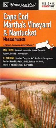 Buy map Cape Cod, Marthas Vineyard and Nantucket, Massachusetts by Kappa Map Group