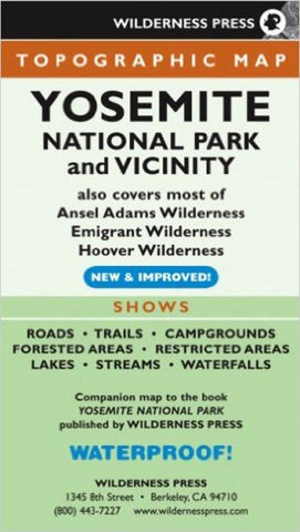 Buy map Yosemite National Park and Vicinity, California by Wilderness Press