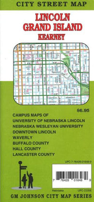 Buy map Lincoln, Grand Island, + Kearney, NE by GM Johnson