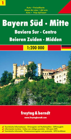 Buy map Germany, Bavaria South and Central by Freytag-Berndt und Artaria