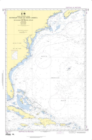Buy map North Atlantic Ocean - Southeast Coast Of North America (NGA-108-9) by National Geospatial-Intelligence Agency