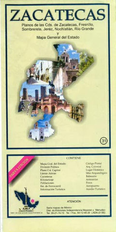 Buy map Zacatecas, Mexico, State and Major Cities Map by Ediciones Independencia