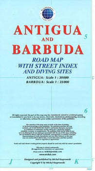 Buy map Antigua and Barbuda Road Map by Kasprowski Publisher