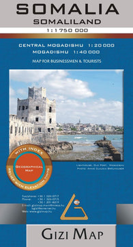 Buy map Somalia Geographical Map by GiziMap