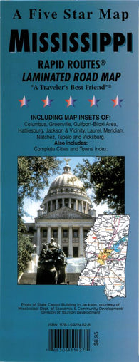 Buy map Mississippi Rapid Routes by Five Star Maps, Inc.