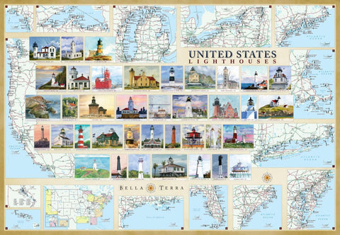 Buy map United States Lighthouses Map - Laminated Poster by Bella Terra Publishing LLC