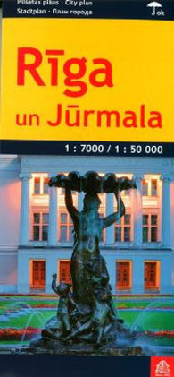Buy map Riga and Jurmala, laminated by Jana Seta