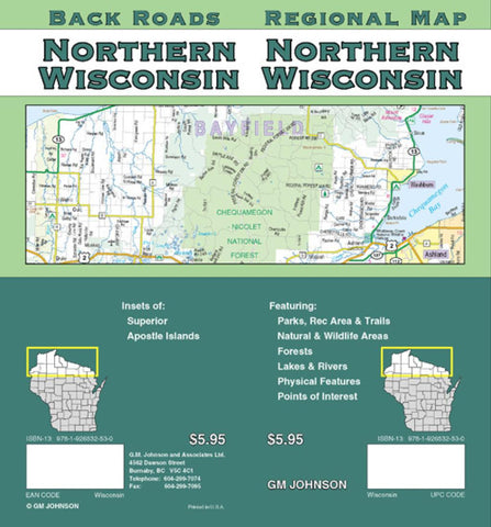 Buy map Wisconsin, Northern by GM Johnson