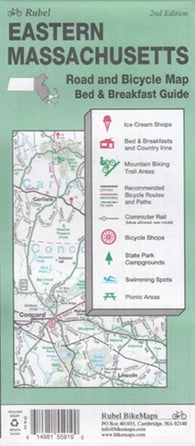 Buy map Massachusetts, Eastern, Road and Bicycle Map by Rubel BikeMaps