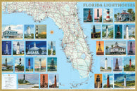 Buy map Florida Lighthouses Map, Laminated Poster by Bella Terra Publishing LLC