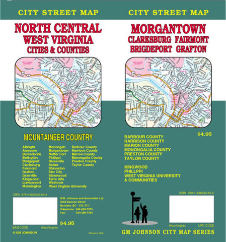 Buy map Morgantown, Clarksburg, Fairmont, Bridgeport and Grafton, West Virginia by GM Johnson