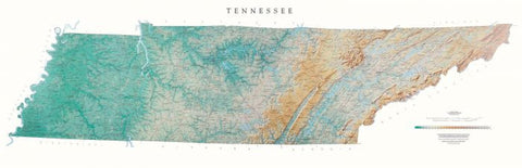 Buy map Tennessee - Physical, Laminated Wall Map by Raven Maps