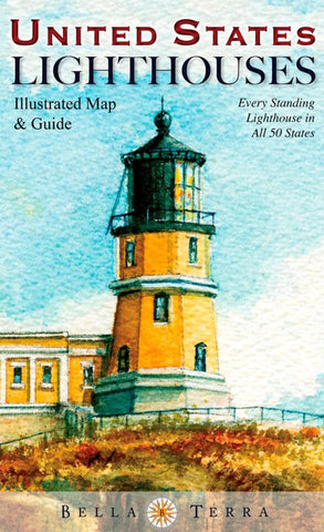Buy map United States Lighthouses Map by Bella Terra Publishing LLC