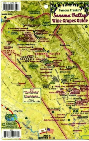 Buy map Sonoma Valley Wine Grapes Card by Frankos Maps Ltd.