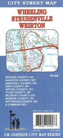 Buy map Wheeling, West Virginia and Steubenville, Ohio by GM Johnson