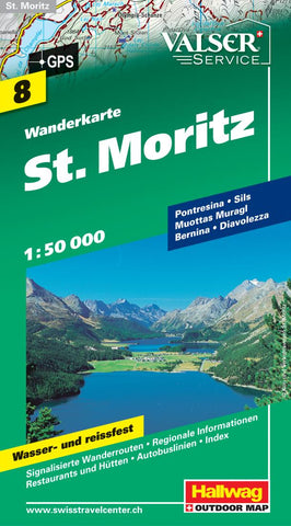 Buy map St. Moritz Hiking Map by Hallwag