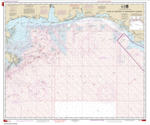 Buy map Cape St. George to Mississippi Passes (Oil and Gas Leasing Areas) (1115A-44) by NOAA
