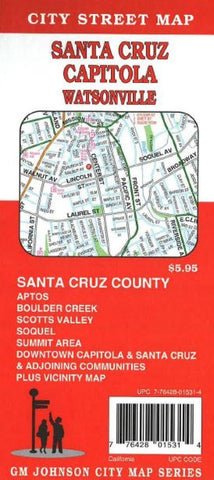 Buy map Santa Cruz, Watsonville and Capitola, California by GM Johnson