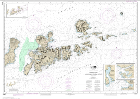 Buy map Atka Pass to Adak Strait; Three Arm Bay, Adak Island; Kanaga Bay, Kanaga Island; Chapel Roads and Chapel Cove, Adak Island (16471-12) by NOAA