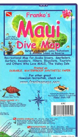 Buy map Maui, Hawaii, Diving, Surfing , Hiking and Tourist Folded Map by Frankos Maps Ltd.