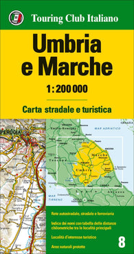 Buy map Umbria and the Marches, Italy by Touring Club Italiano