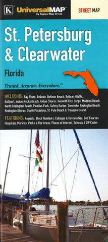 Buy map St. Petersburg and Clearwater, Florida by Kappa Map Group