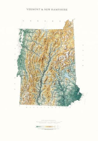 Buy map Vermont & New Hampshire, Physical Wall Map by Raven Maps