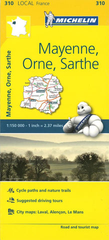 Buy map Michelin: Mayenne, Orne, Sarthe Road and Tourist Map by Michelin Travel Partner