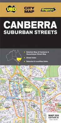 Buy map Canberra, Australia, Suburban Streets by Universal Publishers Pty Ltd