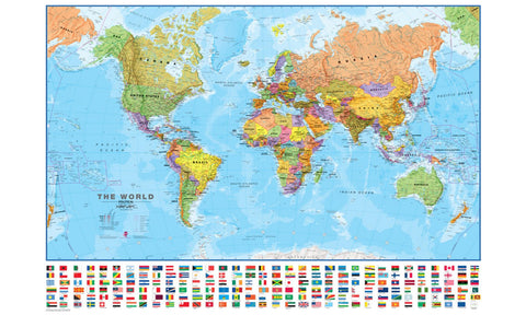 Buy map World, Political with Flags by Maps International Ltd.