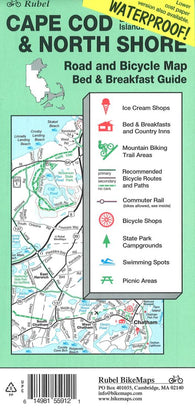 Buy map Cape Cod, The Islands and North Shore, Road and Bicycle Map (waterproof) by Rubel BikeMaps
