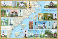 Buy map Southeast Lighthouses Map - Laminated Poster by Bella Terra Publishing LLC