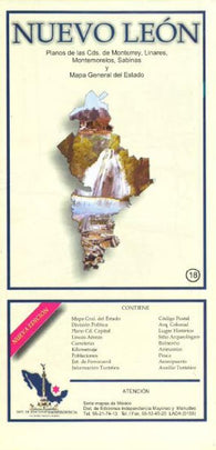 Buy map Nuevo Leon, Mexico, State and Major Cities Map by Ediciones Independencia