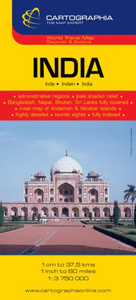 Buy map India by Cartographia