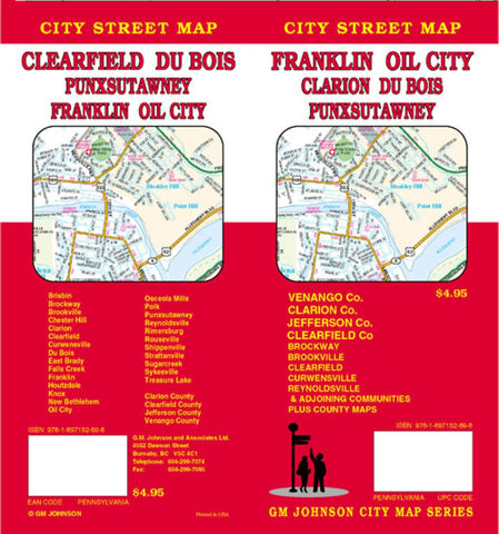Buy map Franklin, Oil City, Clarion, DuBois, Clearfield and Punxsutawney, Pennsylvania by GM Johnson