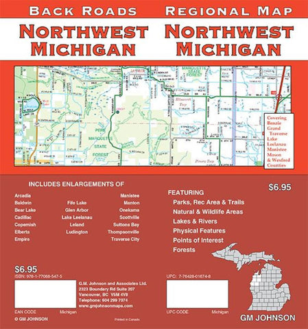 Buy map Michigan, Northwest, Back Roads by GM Johnson