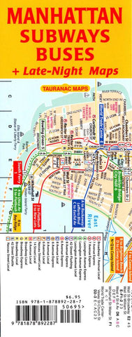 Buy map Manhattan Subways and Buses by Tauranac Press