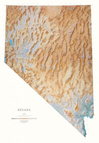 Buy map Nevada, Physical, Laminated Wall Map by Raven Maps