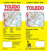 Buy map Toledo and Bowling Green, Ohio, large print by GM Johnson