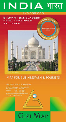 Buy map India Geographical Map by GiziMap