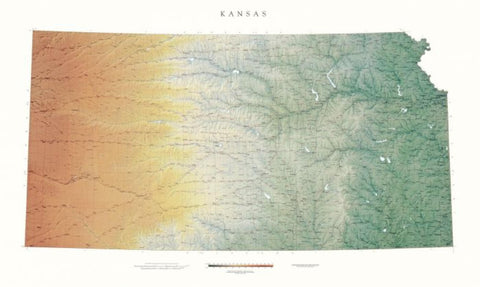 Buy map Kansas, Physical, Laminated Wall Map by Raven Maps