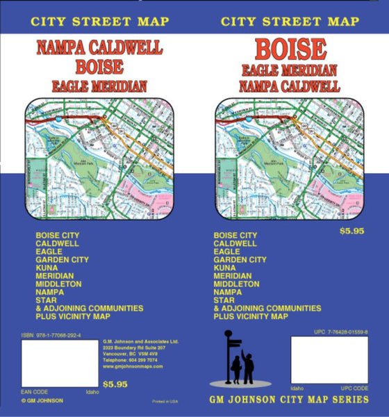 Buy map Boise, Eagle, Meridian, Nampa and Caldwell, Idaho by GM Johnson