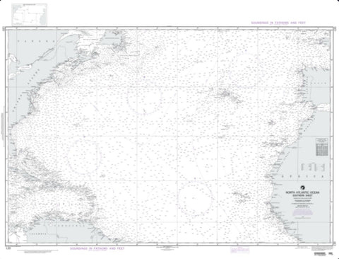 Buy map North Atlantic Ocean - Southern Sheet (NGA-120-6) by National Geospatial-Intelligence Agency