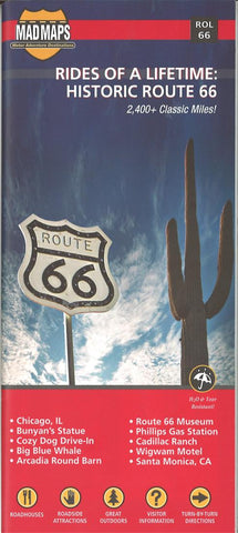 Buy map Rides of a Lifetime: Historic Route 66 by MAD Maps