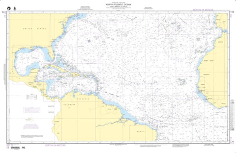 Buy map North Atlantic Ocean - North America To Africa (NGA-12-1) by National Geospatial-Intelligence Agency