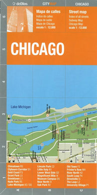 Buy map Chicago, Bilingual Street Map by deDios