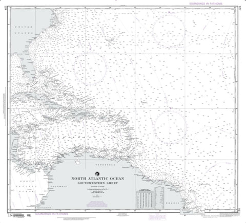 Buy map North Atlantic Ocean - Southwestern Sheet (NGA-124-10) by National Geospatial-Intelligence Agency