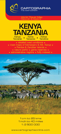 Buy map Kenya and Tanzania by Cartographia