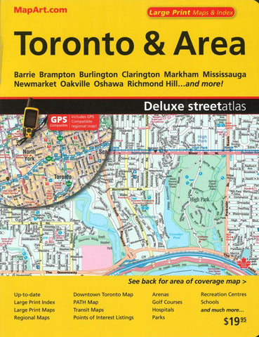 Buy map Toronto & Area Deluxe Street Atlas (Large Print) by Canadian Cartographics Corporation